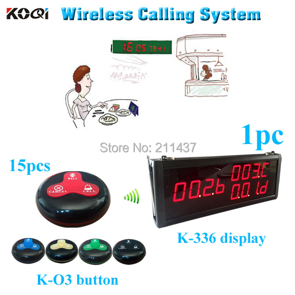 Remote Calling Waiter Buttons Service Calling System Waiter Paging Bell For Restaurants (1 display panels and 15 bell )(China (Mainland))