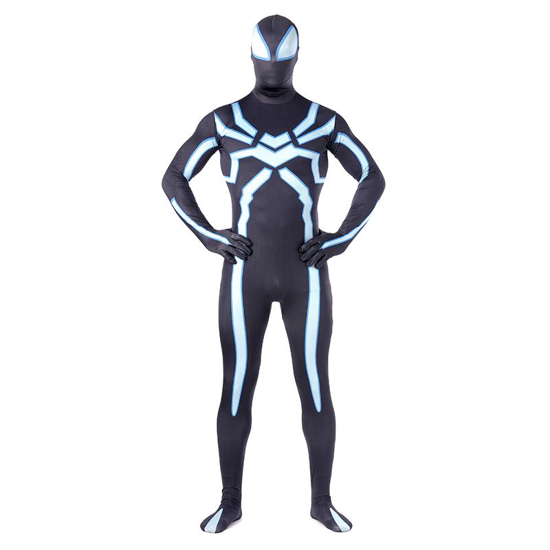 Adult Black White Spiderman Costume for Men Spandex Zentai Superhero for Men Party Dresses(China (Mainland))