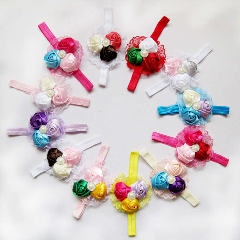 100pcs/lot Infant flower headband Babies pink lace hairband Toddler Baby girls Felt Flower headbands Free shipping C120(China (Mainland))