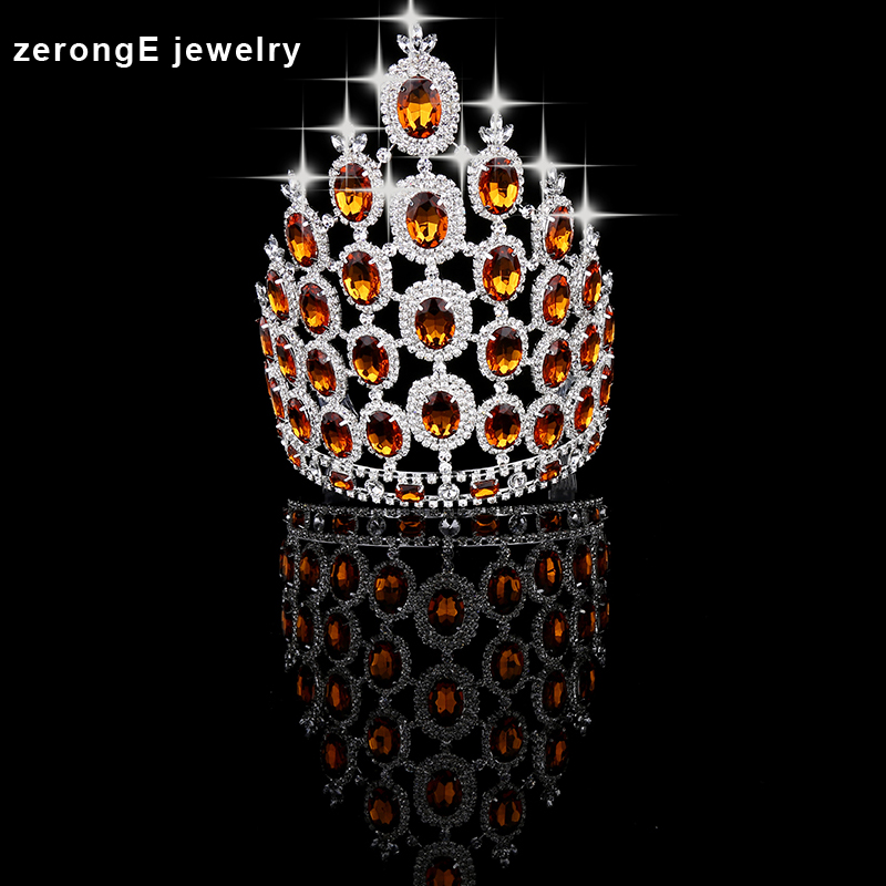 zerongE jewelry 9.0'' big tall pageant orange crystal crown silver Regal Sparkly Rhinestones hair Tiaras And Crown for women(China (Mainland))