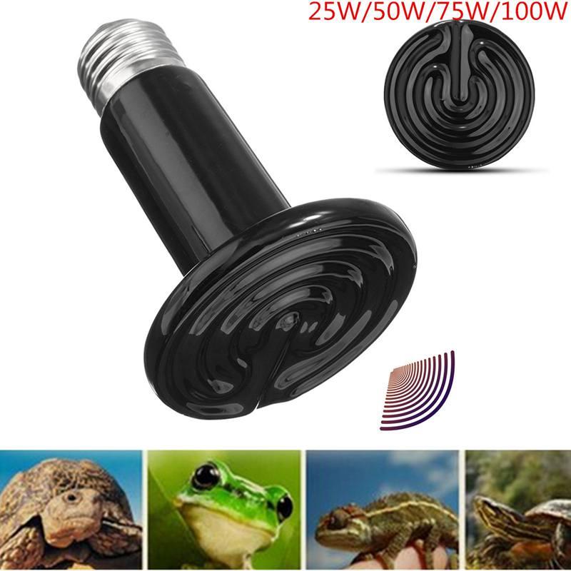 Pet Heating Light Bulb E27 25W 50W 75W 100W 70mm Black Pet Reptile Brooder Infrared Ceramic Heating Emitter Lamp AC 110V(China (Mainland))