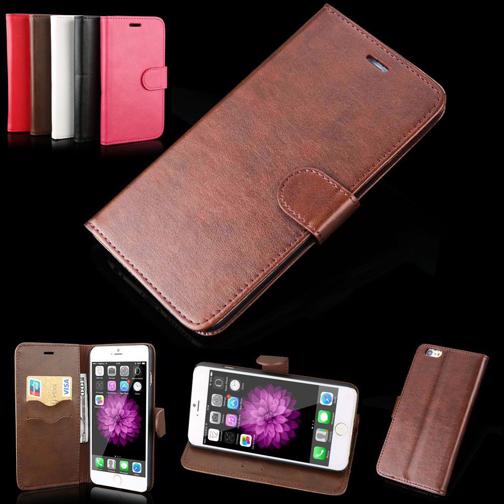 2015 New Leather Wallet Stand Soft phone cover cases iphone 5 5s 6 plus PT1923 - RobotSky Official Electronic Store store