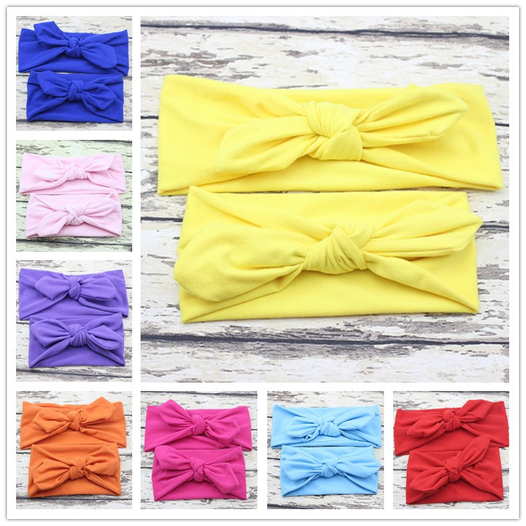 Mom and Me boho Turban Headband Pair Set Top Knotted Headbands Fashion Solid Baby and Mommy Cotton Elastic Headwrap 10 SET/Lot(China (Mainland))