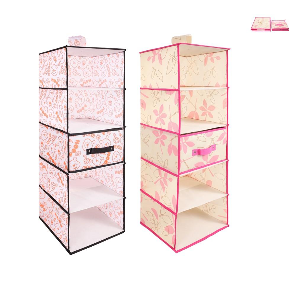5 Shelf Closet Divider Container Organizer Wardrobe Hanging Storage Bin Bag Box With Drawer For Coat Hat Sock Underwear Ties(China (Mainland))