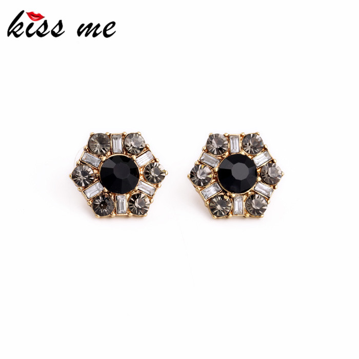 Factory Wholesale Women Accessories Glass Crystal Hexagon Spike Fashion Earrings Jewelry 2015<br><br>Aliexpress