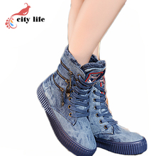 Denim Cloth Winter High Top Shoes Woman,Big Discount Lace Up Canvas Warm Boots ,Flat Outdoor Short Snowboots(China (Mainland))