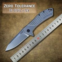 Cero tolerancia Rexford 0801 rodamientos Flipper titanio táctico plegable que acampa de caza al aire libre del cuchillo de bolsillo ZT0801 D2 del cuchillo del EDC