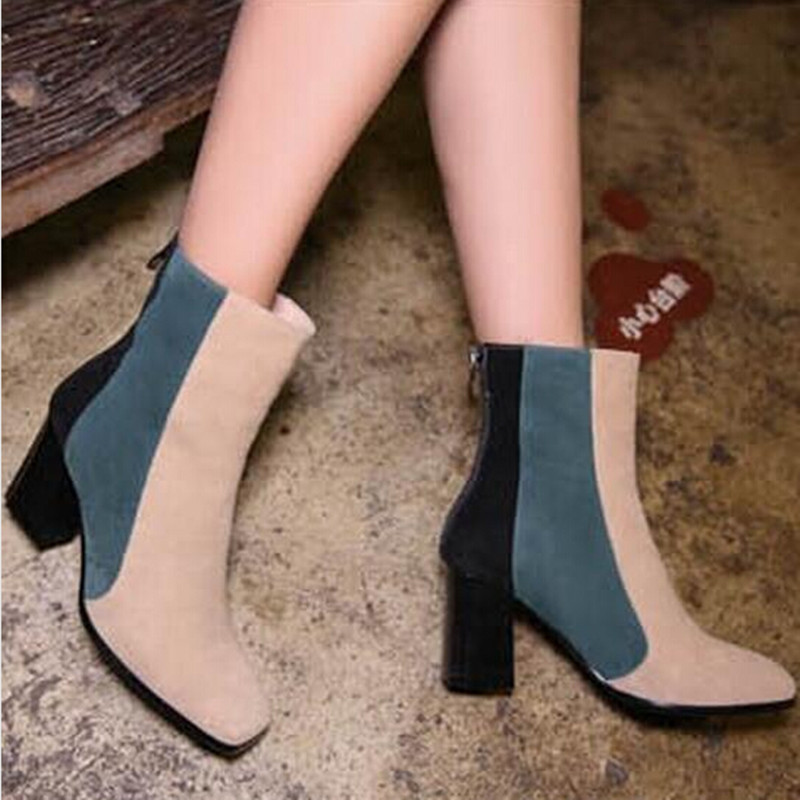 Top Fashion Women Boots Nubuck Leather Fashion Winter Shoes Woman Good Quality Female Ankle Boots Mix Color Luxury Zapatos Mujer<br><br>Aliexpress