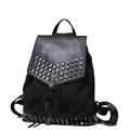 Fashion New Waterproof Nylon PU Backpack Punk Style Rivet Women Trendy Casual Drawstring Daypack Belt Buckle