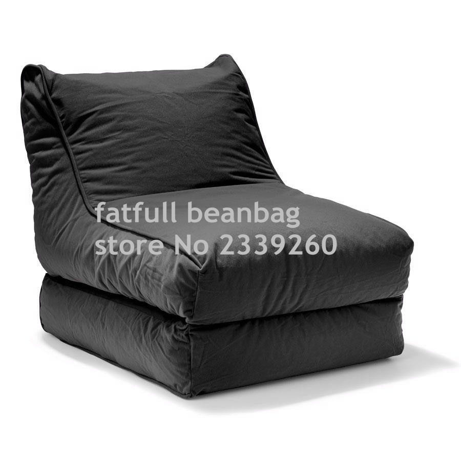 COVER ONLY , no filler - 2-in-1 Convertible Bean Bag Cover Lounger Double Seater Black(China (Mainland))