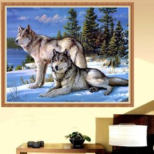 Crafts Diamond Embroidery Wolf Full Painting Kit Square Drill Rhinestone Pasted Room 35 x 25 cm - Love Life U Store store