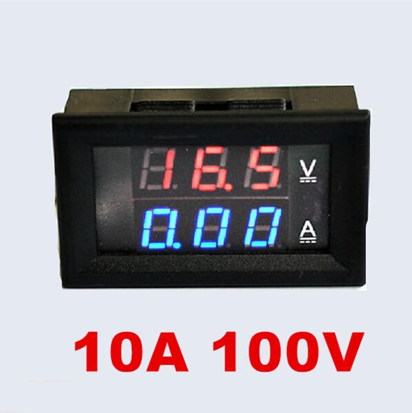 DC 0-100V/10A Red Blue LED Dual Display Motorcycle Car Digital Voltmeter Ammeter Volt Amp Meter Tester Car Voltage Monitor(China (Mainland))