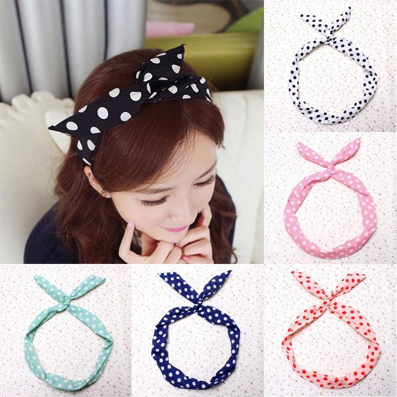 1Pcs Cute Korean Dots Bunny Rabbit Ear Ribbon Headwear Hairband Metal Wire Scarf Headband Hair Band Accessories 6Colors
