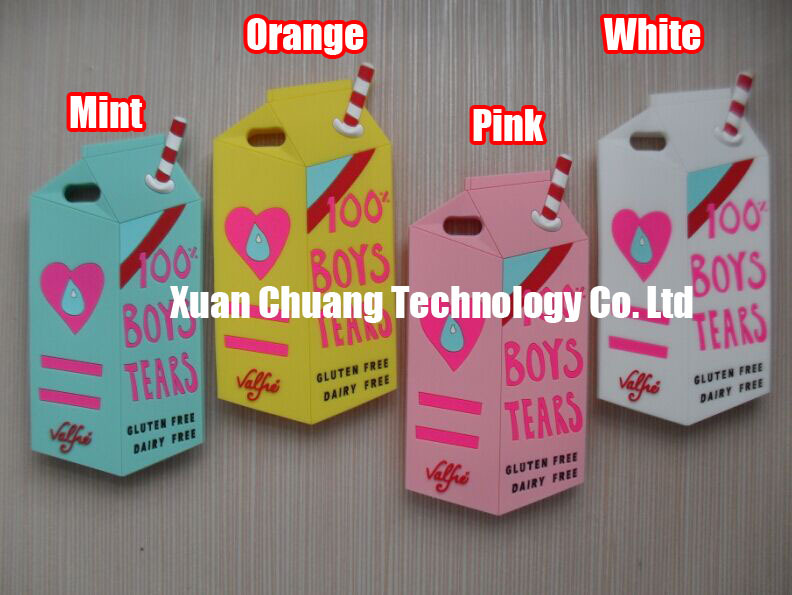 3D Cute Fresh Milk 100% Boy's Tears Box Silicon Cases Covers Skins Shields Shells Housings for iPhone 5 5S 5C with Freeshipping(China (Mainland))