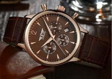 Pindo acero de seis pines de mesa de la correa de cuarzo impermeable multifunción reloj jefe