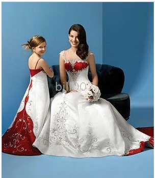 Sweep Brush Train Satin Flower Girl Dress with embroidery  in wedding for  girl  skirt Style SKU510240 A-line Spaghetti Straps