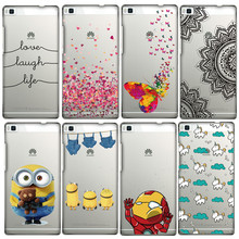 8 Styles Cartoon Minnie Despicable Me Butterfly Love Heart Painted Soft Silicon Cover Back Case For Huawei Ascend P8 funda Coque