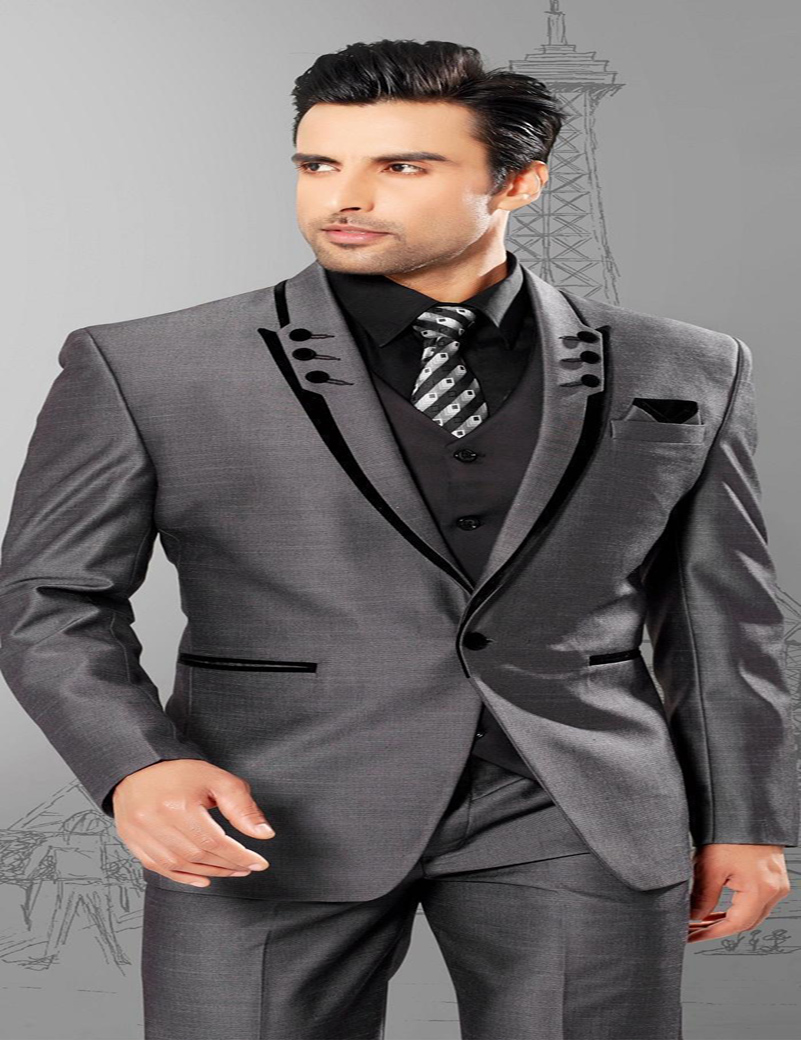 men suits slim fit peaked lapel tuxedos grey wedding suits