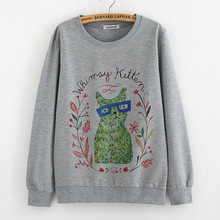 Teenage print tops sweatshirts for big girls long sleeve tees 14T 16T 18T college clothes fit university students vintage style(China (Mainland))