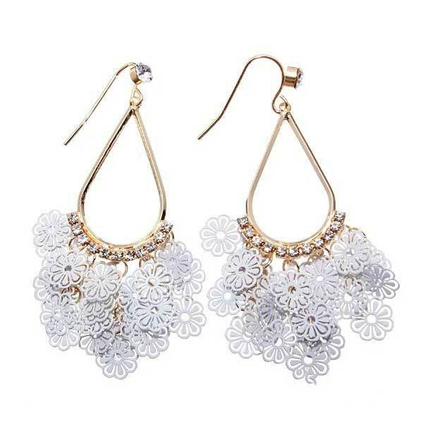 Bimini Gold Plated Hollow Out Rhinestone Little Flower Earrings Jewelry(China (Mainland))