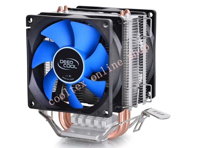 DEEPCOOL CPU cooler 2pcs 8025 fan double heatpipe radiator for Intel LGA 775/115x, AMD 754/940/AM2+/AM3/FM1/FM2 cooling(China (Mainland))