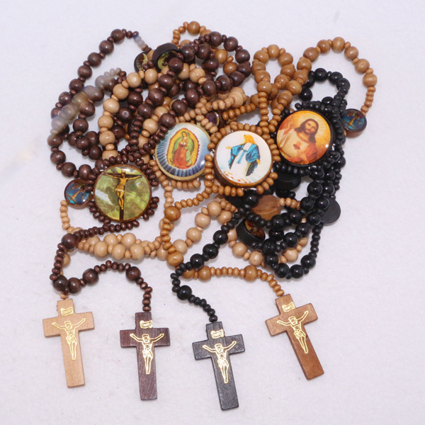 6pcs/lot Wooden Catholic Rosary Beads Necklace Christian pray cross Bless wood Cross catholic necklace(China (Mainland))