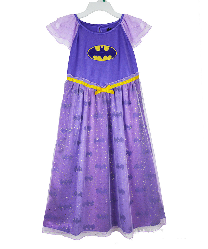 Perfect Quality BATGIRL BAT GIRL Princess girls childrens kids dress summer short sleeve girl dresses fancy costume cosplay(China (Mainland))