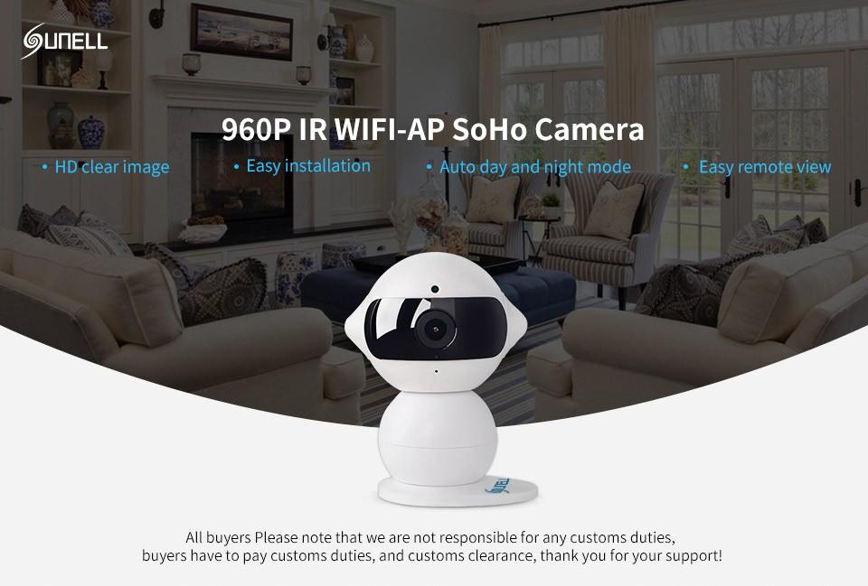 Sunell Q1R0 Model WIFI IP Camera Brand Night Vision Security Camera Hd 1.3mp IR Range 5m Mini Robot Indoor Home Office Wifi 960p