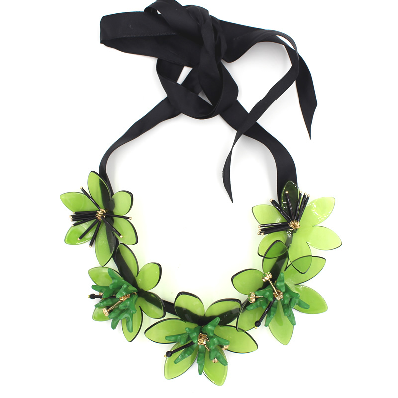 2015 summer trendy Green acrylic flower necklace bijoux women statement black rope chain long necklace collier fine jewelry(China (Mainland))