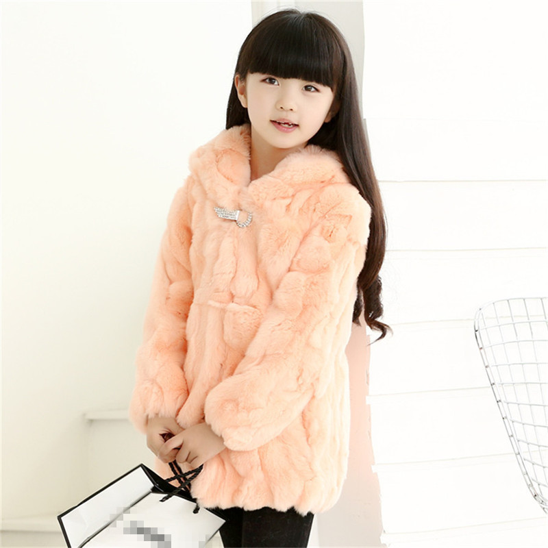 Hot sale 2016 Real Rabbit Fur Coat for Children Baby Girls Autumn Winter Thick Warm Long Coat Solid Fur Outerwear Jackets Cothes(China (Mainland))