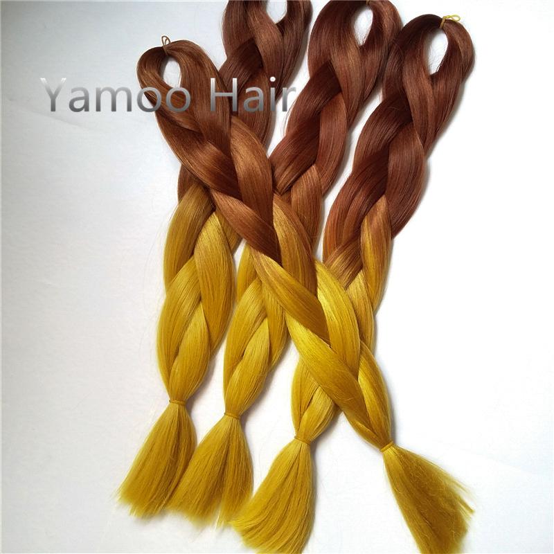 4pcs Ombre Kanekalon Braiding Hair peerless Synthetic Expression Braiding Hair Kanekalon Ombre Braiding Hair colored kanekalon(China (Mainland))