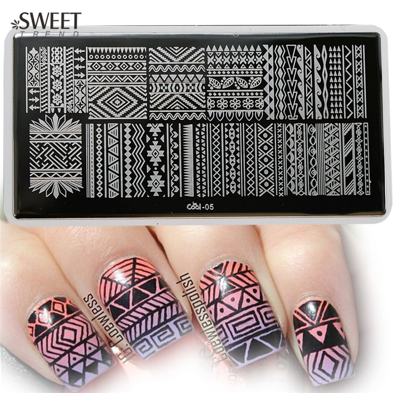 1pcs Unique Totem Image Plates Nail Stamping Plates Stainless Steel Nail Art Stamp Template Manicure Nail Tools LesCool05(China (Mainland))
