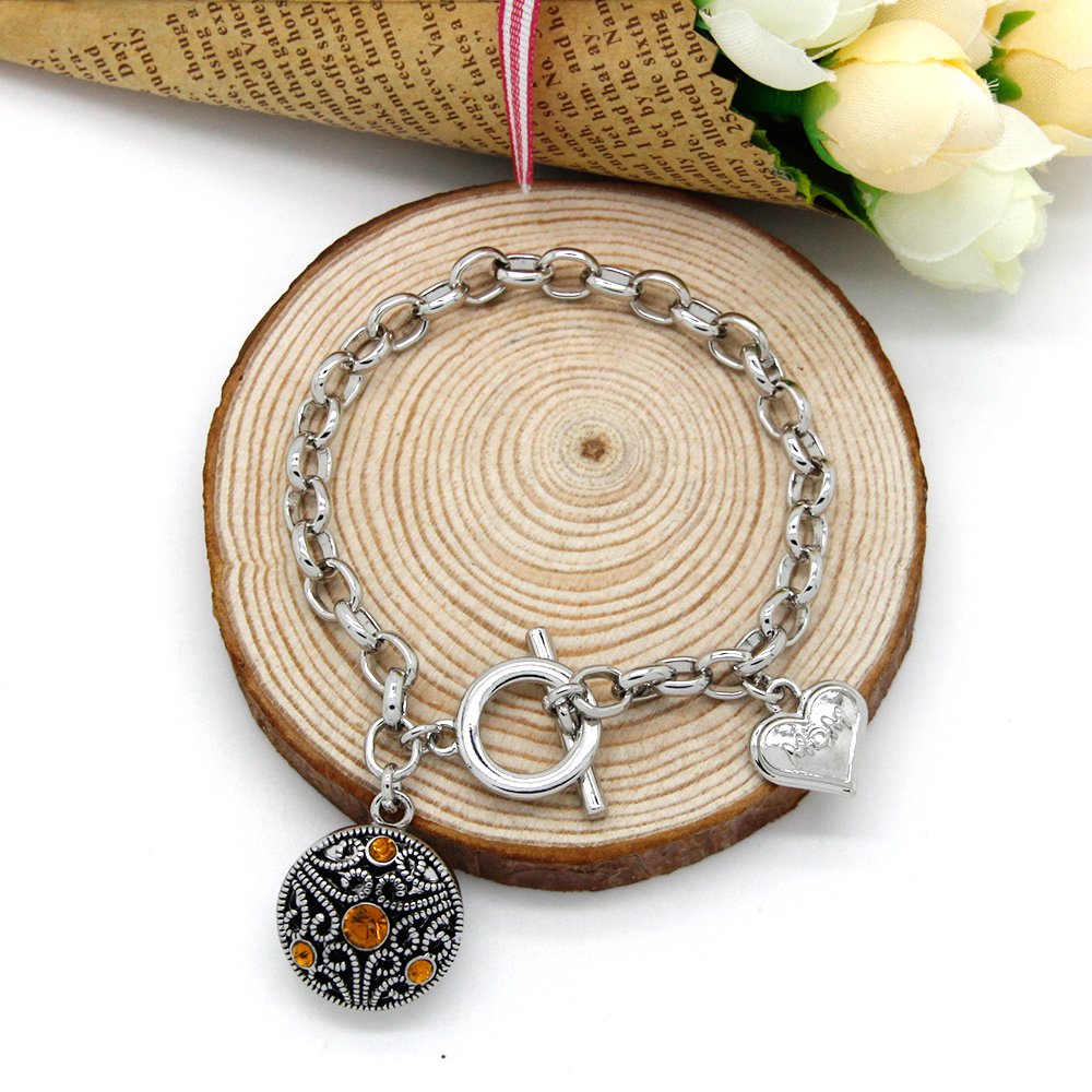 Love Heart MOM Charm Bracelet for Women Silver Plated Chain Bracelets&Bangles with Snap Pendant SBRR60(China (Mainland))