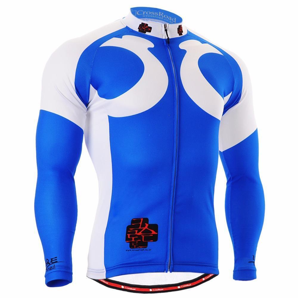 Men`s Long Sleeve Cycling Jersey 2601 Sky Blue/ Useful 3 Rear-pockets & Non-slip Silicone Band 4 Seasons MTB Bicycle Bike Gear(China (Mainland))