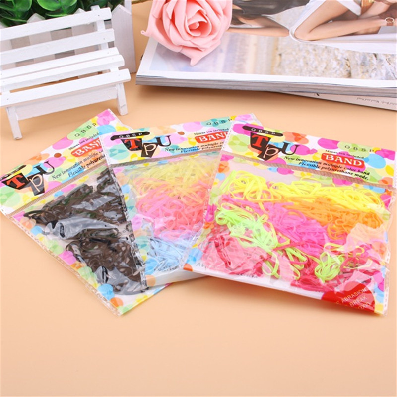 400PCS/LOT Trendy Transparent Rubber Band black rainbow colours Women Girls Elastic Hair Band Tie Rope Fashion Hair Accessories(China (Mainland))