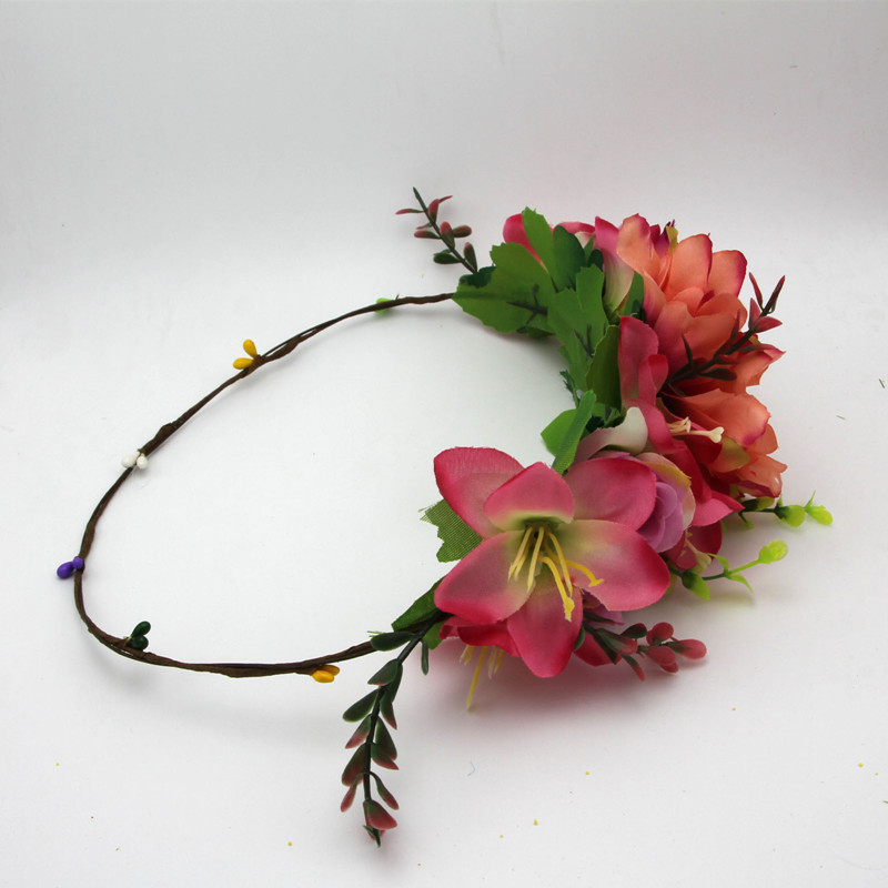 Fashion handmade Rose Flower Wreath Crown Garland Halo for Wedding travel Festivals Girl Rose Wreath Headpiece
