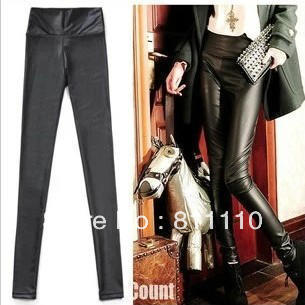 Trend knitting  2013 New fashion matte high waist faux leather pants Slim was lanky elastic women Black leggings