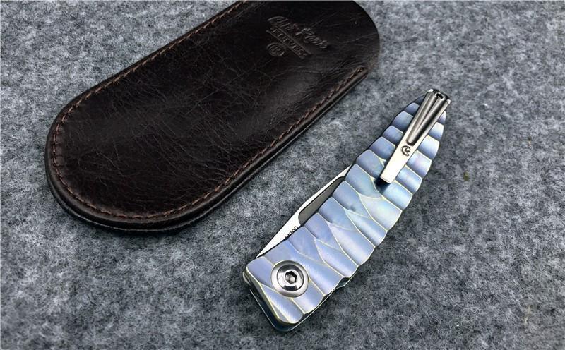 Buy Magic Mnandi M390 Blade snake wood TC4 Titanium handle folding knife Copper washer hunt camp Pocket Survival EDC Tool knives cheap