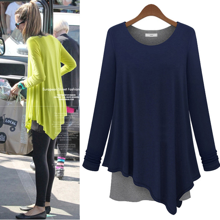 Good Quality 2014 Fashion Famous Models Irregular Fake Two Piece Long Sleeved Loose Style T