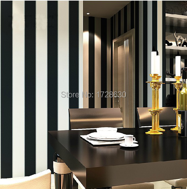 Zebra wallpaper roll modern brief vertical black and white for Black and white room wallpaper