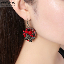 Jiangnan Folk Style Butterfly Earrings EARRINGS HANDMADE EARRINGS Chinese wind exaggerated red retro temperament(China (Mainland))