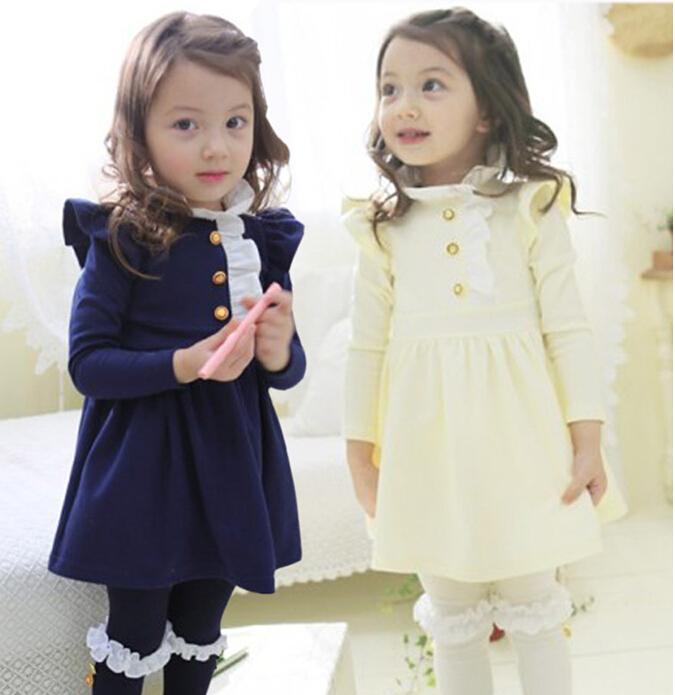 Fashion baby girls ruffle dress with buttons, kids cotton dress,FXY01(China (Mainland))