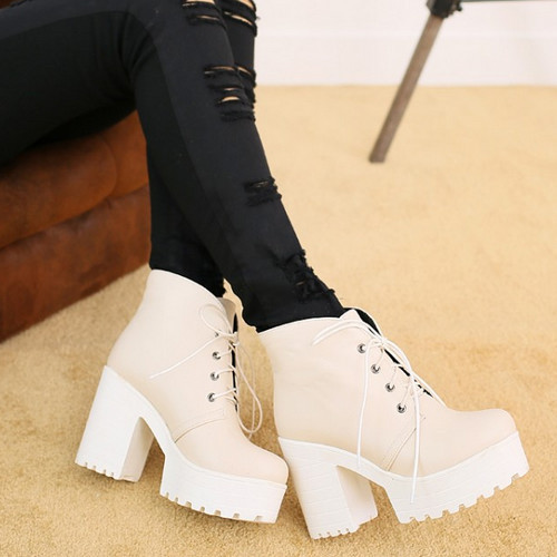 Гаджет  2015 Big size 33-43 New Fatory High Heels Lace Up Warm Ankle Boots Shoes Round Toe Platform Women Square High heel Boots  None Обувь