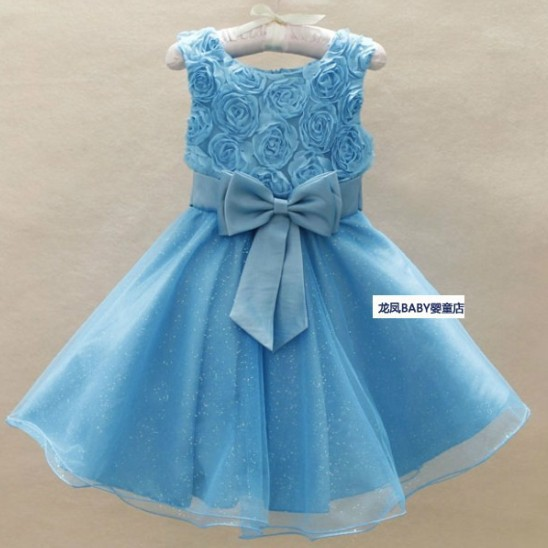 New  Arrival 2013 HOT Selling Children Kids Clothing Girls Flower Rose Design Sleeveless Summer Wear Sky Blue Wholesale 6pc/lot