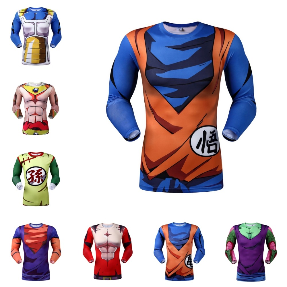 New 2016 Men's outdoor sports tight t-shirts Son Goku Master Roshi kanji T Shirt Dragon Ball Anime Costume Size:XS-XXXL(China (Mainland))