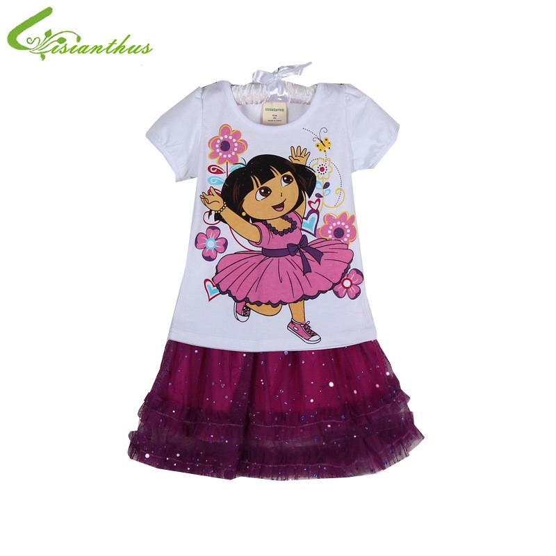 2016 girl clothing sets Girl Dora Princess Top Shirt Summer Tutu Dress Outfit Costume Skirt Free shipping 2pcs girl clothes sets(China (Mainland))
