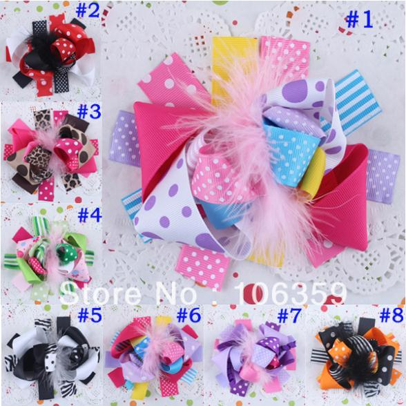 Small Funky Hair Bows Baby Feather Hair Clips Cute Hairbows Infant Flower Clip Hairpin Hairgrips Prom Boutique 10pcs HYS18(China (Mainland))