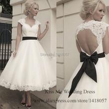 2015 Vintage Short Wedding Dress Tea Length Lace Bridal Gowns White Black Sash Bow Cap Sleeve Open Back H754(China (Mainland))