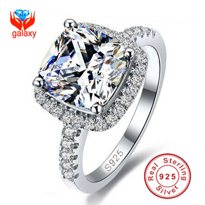 100% 925 Sterling Silver Ring Jewelry Have S925 Stamp 5 Carat CZ Diamond Zircon Wedding Rings For Women SIZE 5 6 7 8 9 10 Z001(China (Mainland))