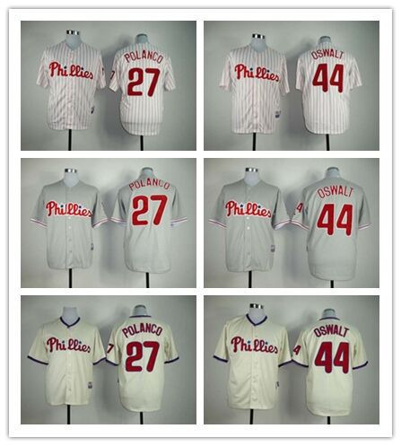Authentic 27 Placido Polanco,44 Roy Oswalt Jersey Cheap Sports Philadelphia Phillies MLB Baseball jersey Buy direct from china(China (Mainland))
